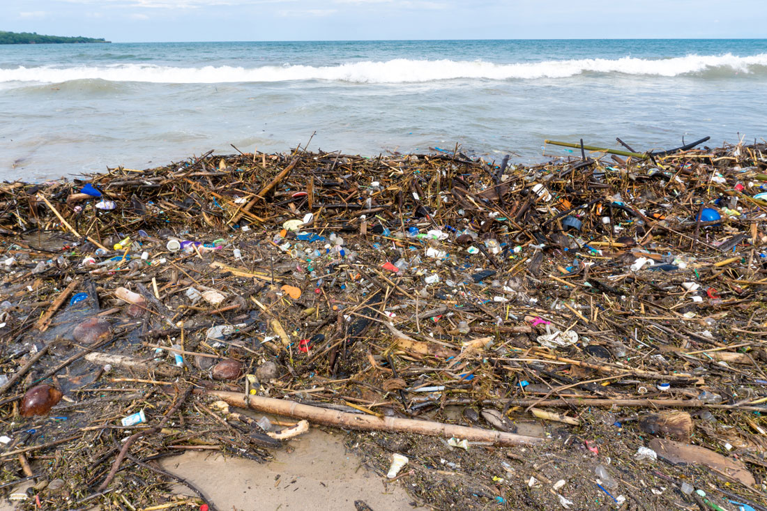 Plastic that has polluted a sandy beach
